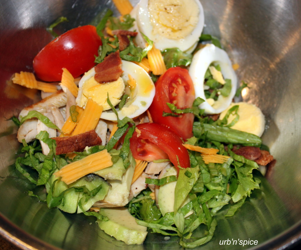 Cobb Salad composed in a bowl