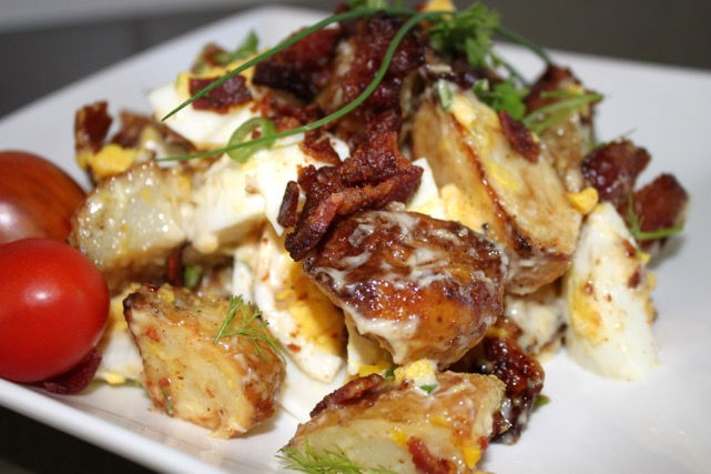 Double Duty Recipes: Roasted Potato, Crispy Bacon & Chive Salad | urbnspice.com