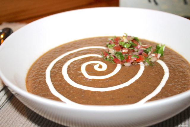 Hearty Black Bean Soup with Yogurt Swirl and Fresh Tomato Herb Salsa | urbnspice.com