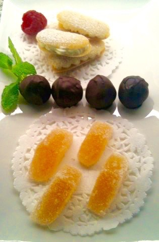 Rice Flour Tuile Paste is used to make a langue de chat cookie on a mignardise platter | urbnspice.com