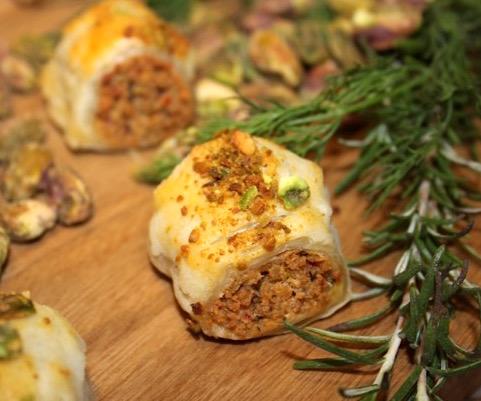 Pistachio Chicken Pastry Puffs