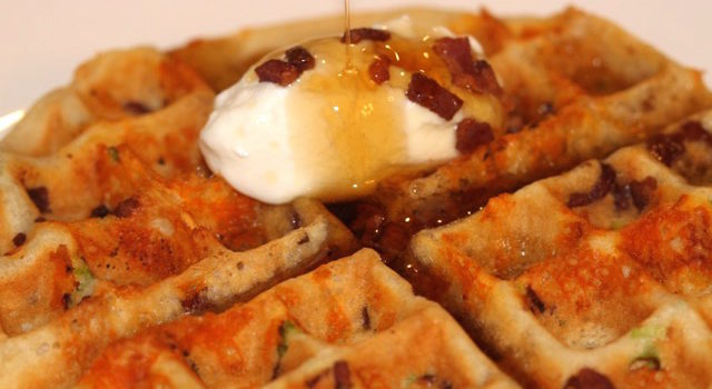 Savoury Crispy Bacon, Cheese and Green Onion Waffles – Gluten Free and Dairy Free
