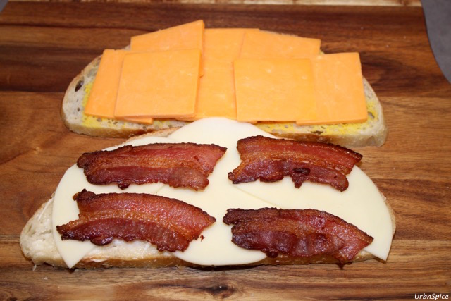 Assembling the Grilled Double Cheese Bacon Sandwich | urbnspice.com