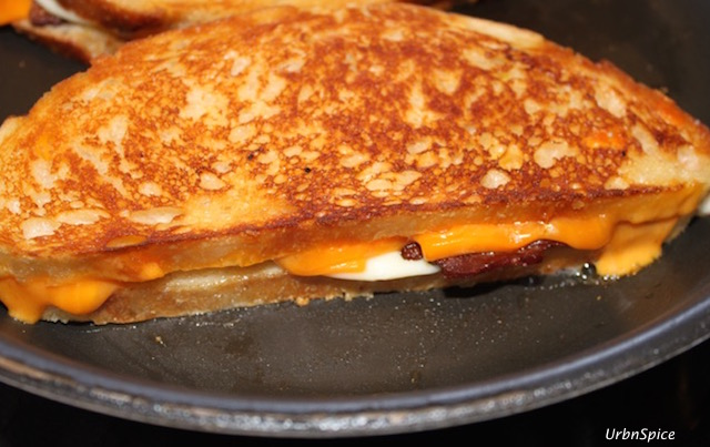 The slow grilling of the Grilled Double Cheese Bacon Sandwich rewards you with a golden crispy crust | urbnspice.com
