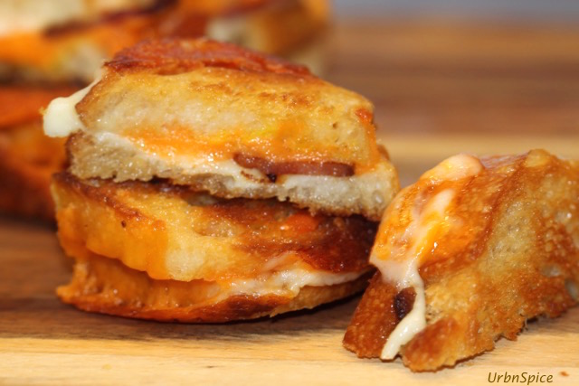 Variation of the Grilled Cheese Sandwich is using a baguette to make mini grilled cheese sandwiches | urbnspice.com