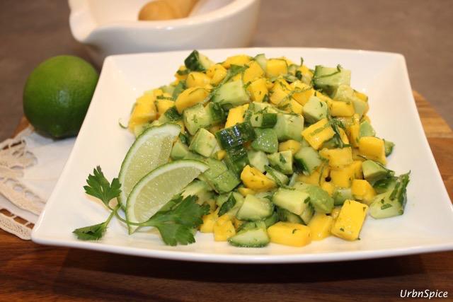 Mango, Avocado and Cucumber Salad with Lime Dressing   urbnspice.com