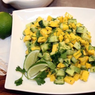 Mango, Avocado and Cucumber Salad with Lime Dressing | urbnspice.com