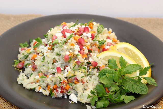 Plated Steamed Cauliflower Tabbouleh | urbnspice.com