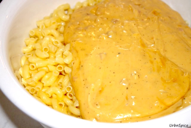 Add the Sauce to the al dente macaroni noodles   urbnspice.com