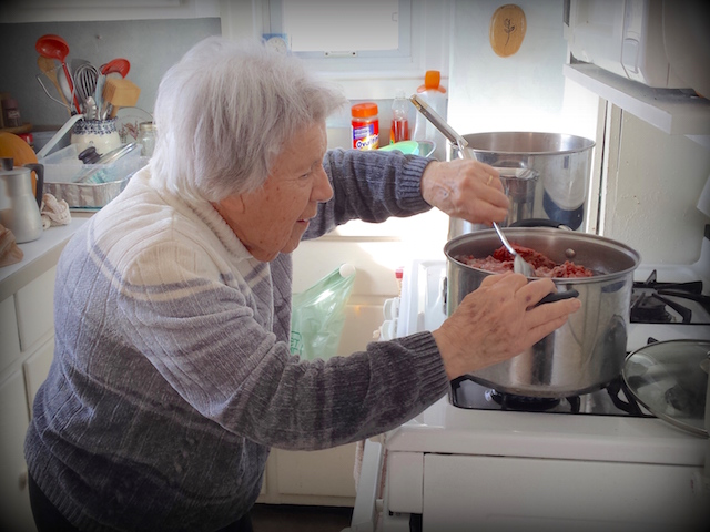 My Mom prepping the filling for her famous French Canadian Tourtière | urbnspice.com