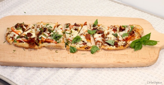 Gluten Free Flatbread served in small wedges as a small plates offering | urbnspice.com