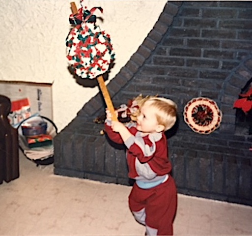Christmas Pinata: Youngest to eldest had a turn | urbnspice.com