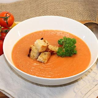 Tomato-Potato Soup with Roasted Garlic | urbnspice.com