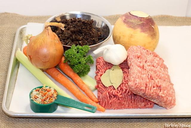 Ingredients for Meat, Mushroom & Vegetable base   urbnspice.com
