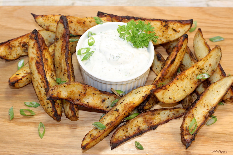 Savoury Potato Wedges with Dressed Up Sour Cream | urbnspice.com
