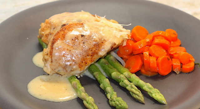 Pan Roasted Chicken with Creamy Asiago Sauce