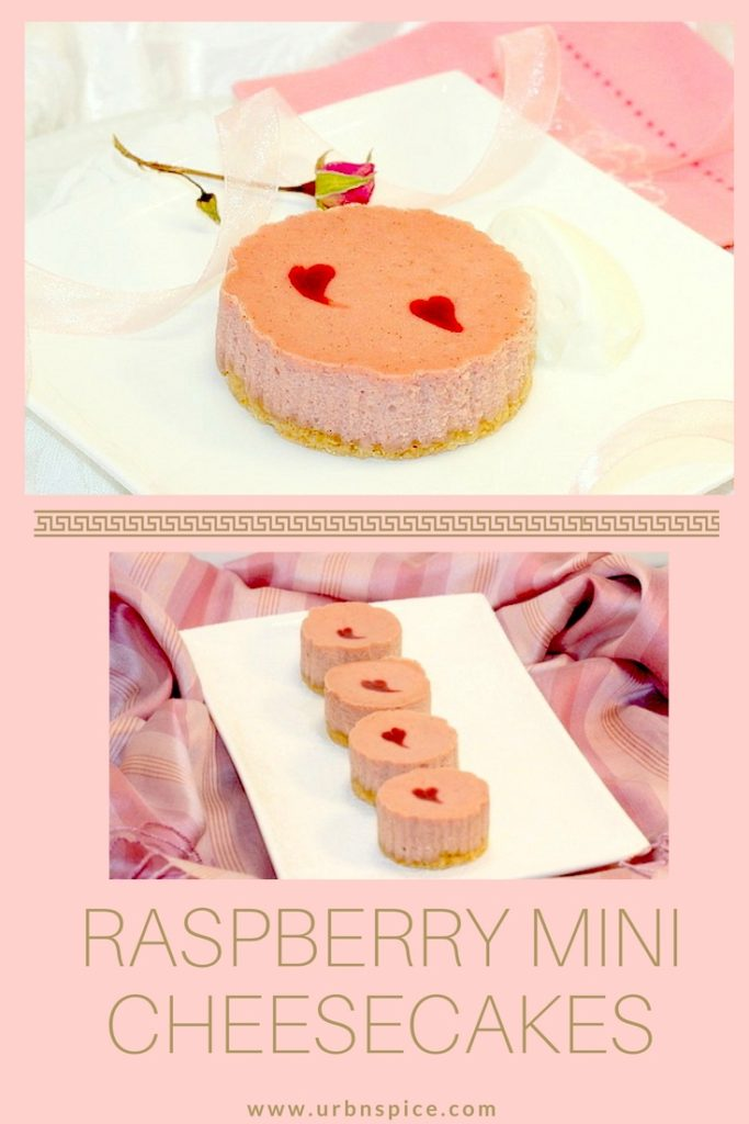 Raspberry Mini Cheesecakes long pin | urbnspice.com