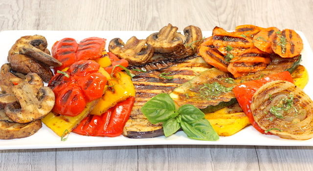 Panini Grilled Vegetable Platter with Balsamic Herb Dressing