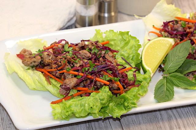 Savoury Blenditarian Brunch Pork with Vegetables & Fine Herbs in lettuce cups   urbnspice.com