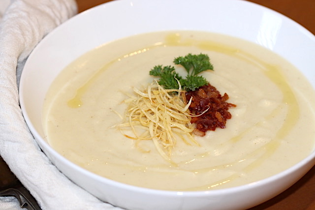 Parsnip Potato Soup with garnish | urbnspice.com