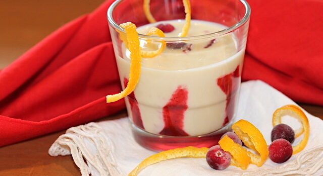 Dairy-Free White Chocolate Eggnog with Cranberry Coulis